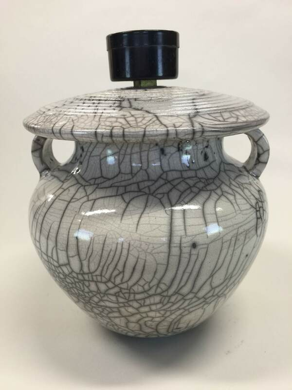 white crackle raku fired pot with lid